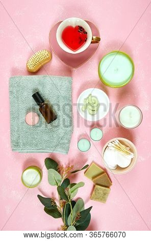 Self-care Wellbeing Flatlay With Pro Environmental Plastic Free Beauty Products.