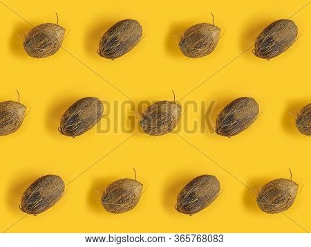 Pattern With Ripe Coconuts On Yellow Background. Top View. Copy Space. Pop Art Design, Creative Summ