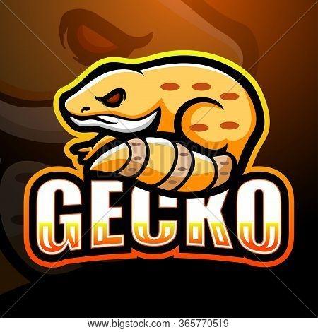 Vector Illustration Of Gecko Mascot Esport Logo Design