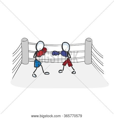 Boxing Championship. Combat Sports. Fight On The Ring. Hand Drawn. Stickman Cartoon. Doodle Sketch,