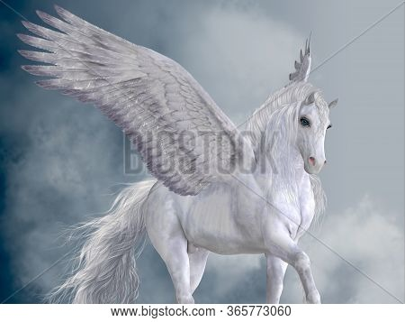 Marvelous White Pegasus 3d Illustration - The Pegasus Horse Is A Magical Winged Creature Who Is Lege