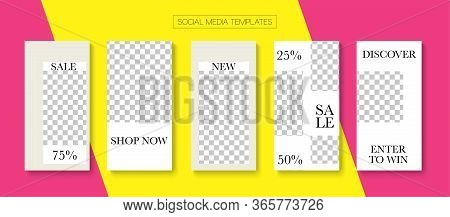 Mobile Stories Vector Collection. Hipster Sale, New Arrivals Story Layout. Blogger Hipster Covers, S