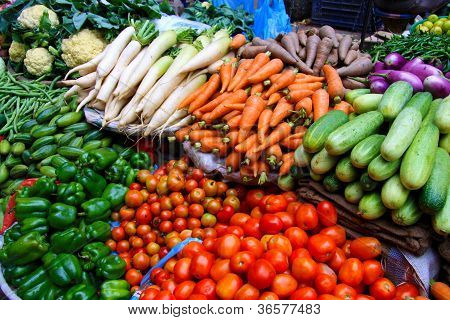 Vegetable market near the Patan Durbar Square in Kathmandu