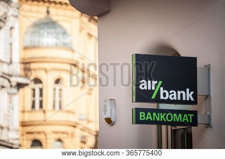 Prague, Czechia - October 31, 2019: Air Bank Logo  In Front Of Their Main Atm For Prague. Part Of Pp