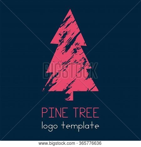 The Pine Tree Logotype. Great Logo For Your Company, You Can Use On A Banner Or Sign. Lonely Tree. V