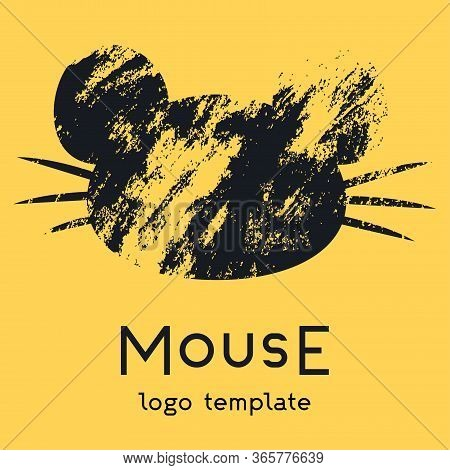 The Mouse Logo On A Yellow Background. A Logo With A Portrait Of A Mouse With A Large Mustache And E