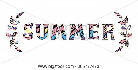 Vector Illustration Of Word Summer With Two Decorative Brunches Isolated On The White Background