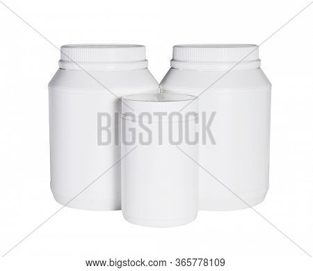 Three Plastic Containers For Health Food on White Background