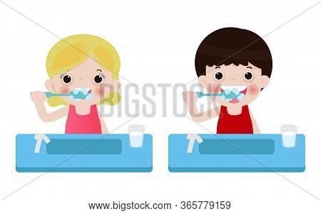 Little Boy And Girl Brushing Teeth, Happy Kids Holding Toothbrush  Brushing Their Teeth. Vector Illu