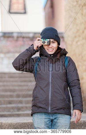 Hipster Woman Traveler With Sweater And Backpack Traveling In Songzanlin Temple, Happy Film Photogra