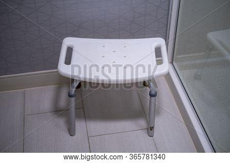Plastic Stool For Safely Sitting In The Shower For Seniors
