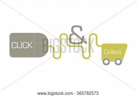 Click And Collect Online Shopping Vector Drawing
