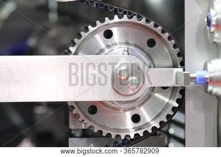 Black Timing Belt That Synchronizes The Rotation Of Gear Drum In Nuggets Meat Forming Automatic Mach