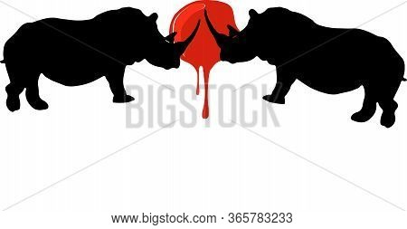Tropical Rhino Sihoulette Vector Illustration , Savanna, Side, Silhouette, Straight