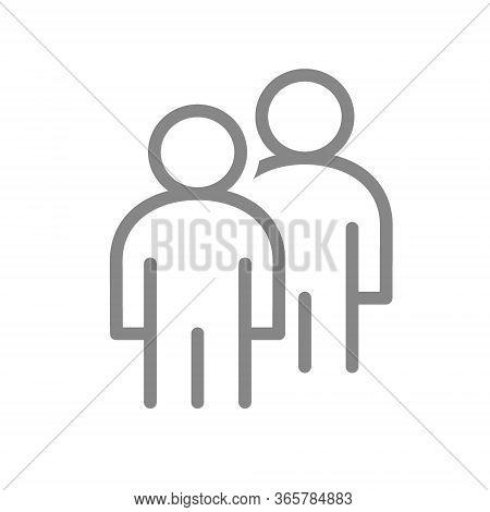 Two User Profile Line Icon. Couple, Mates Symbol