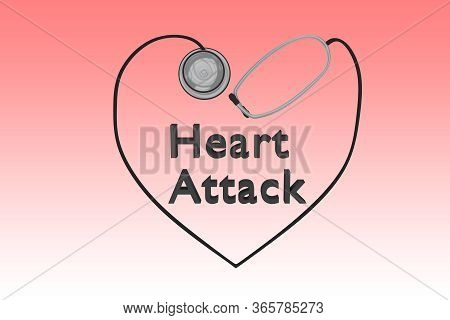 3d Illustration Of Heart Attack Title Within A Heart Silhoulette, Isolated Over Red Gradient.