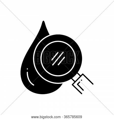 Black Solid Icon For Hematology Drop Magnifier Circulatory Drop