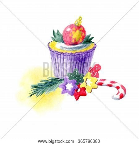 Hand Painted Christmas Arrangement With Cupcakes, Abstract Spots And Different Decorations. Yellow,