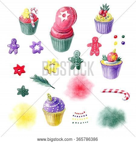 Color Pencils Hand Painted Sweet Christmas Cupcakes, Gingerbreads And Abstract Spots. For Menu Templ