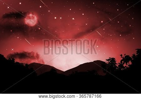 Night Landscape With Silhouettes Of Mountains And Sky With Stars And Fullmoon, Starry Night Sky Back