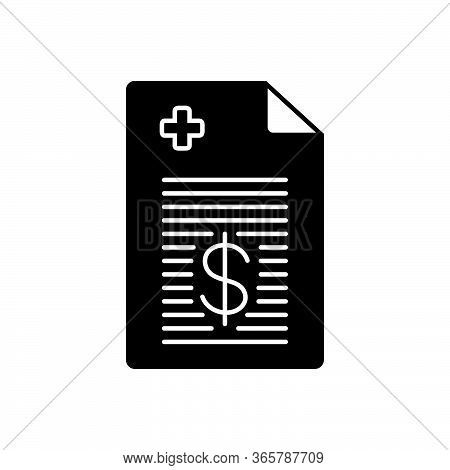 Black Solid Icon For Medical-bill Medical Bill Paperwork