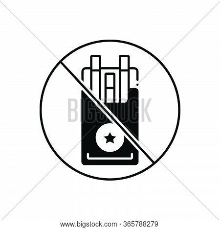 Black Solid Icon For Tobacco Cessation Counseling  Nicotine Unhealthy Prohibition