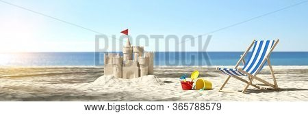 Sandcastle on the beach on vacation during summer vacation on the Baltic Sea or North Sea (3D Rendering)