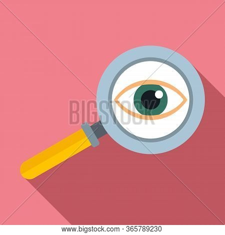 Eye Examination Magnifier Icon. Flat Illustration Of Eye Examination Magnifier Vector Icon For Web D