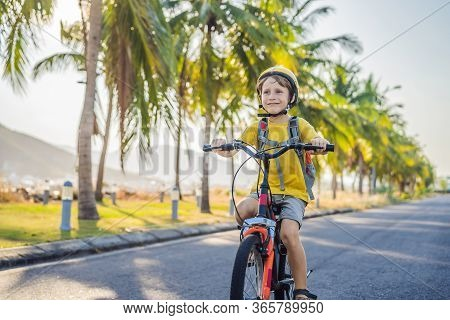 Active School Kid Boy In Safety Helmet Riding A Bike With Backpack On Sunny Day. Happy Child Biking