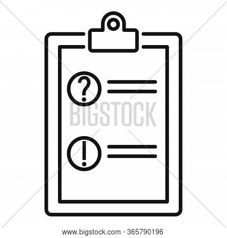 Advice Form Card Icon. Outline Advice Form Card Vector Icon For Web Design Isolated On White Backgro