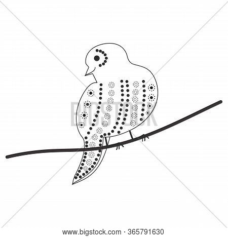 Sketch Of A Sparrow On A Branch With A Pattern Of Circles