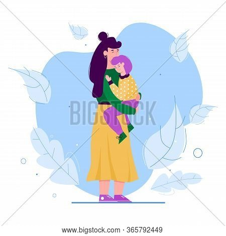 Mother And Daughter Hug - Cartoon Woman Hugging And Holding Her Kid