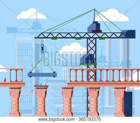 Bridge Construction Illustration. Construction City Bridge Blocks, Cargo Crane Under Clouds, Adjusta