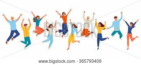 People Happy Jumping Set. Young Funny Teens Large Group Guy, Girl, Jumping Together Joy Lifestyle Ce
