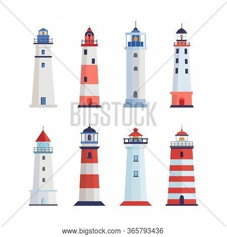 Sea Lighthouse Set. A Tower With A Floodlight On Coast For Maritime Navigation Red With White Stripe