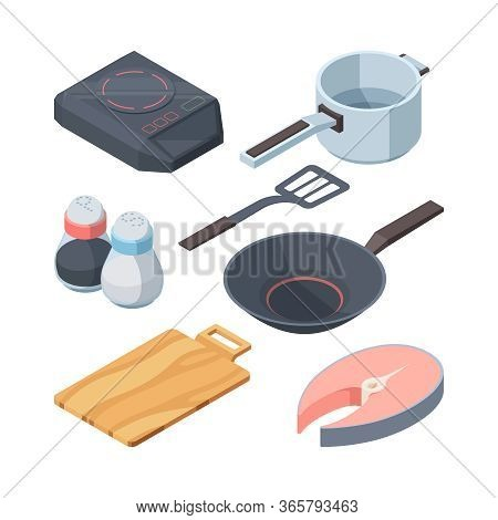 Kithhen Cook Set. Electric Stove White Cooking Ladle Slice Of Red Fish Frying Pan For Frying Pepper