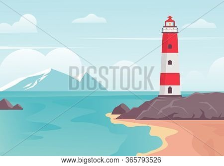 Lighthouse In Bay On Beach. Lighthouse Tower On Stone Hill At Edge Of Blue Sea Bay, White Mountains