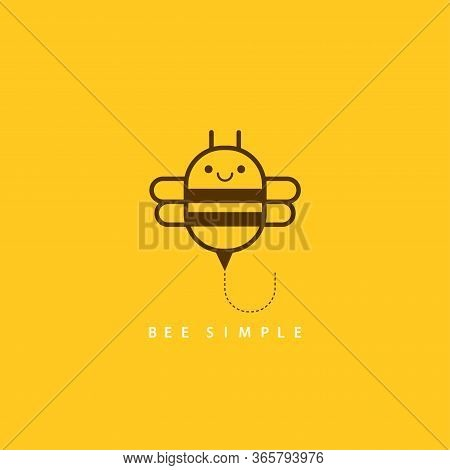 Vector Illustration Of Brown Bee In Linear Geometric Style. Bee Simple For Card Design, T-shirt Or T