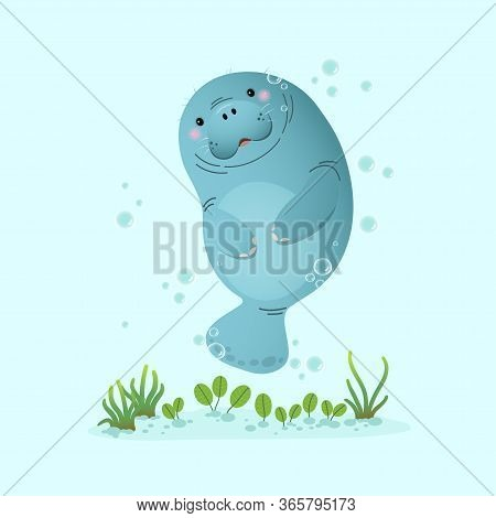 Vector Illustration Cute Cartoon Manatee Swimming Underwater With Seagrass.