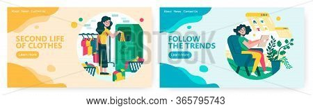 Woman Put Old Dress To Basket For Recycle. Online Fashion Trends And Shopping. Fashion Concept Illus