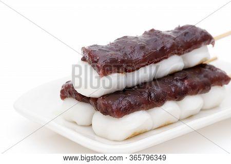 Japanese Traditional Confectionery Kushi Anko Dango On White Background