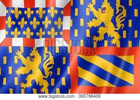 Bourgogne-franche-comte Region Flag, France Waving Banner Collection. 3d Illustration