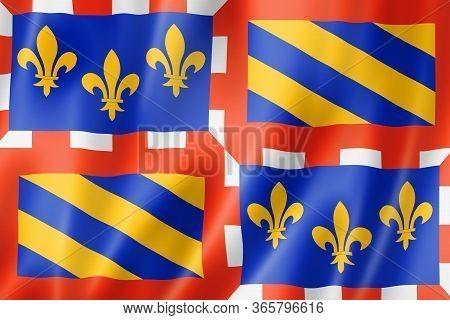 Bourgogne Region Flag, France Waving Banner Collection. 3d Illustration