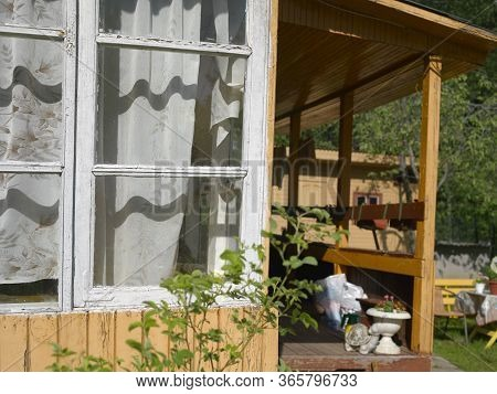 Old Summerhouse With Open Veranda, Outdoor Sunny Day Shot
