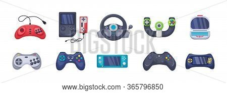 Game Console Objects Set. Gamepad, Playing Joystick, Video Console, Joy Video Games Gadgets
