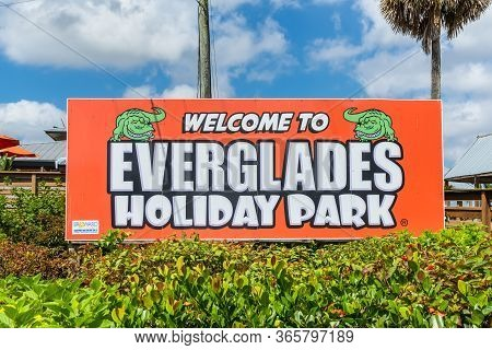 Everglades, United States Of America - April 27, 2019: Welcome Sign To Everglades Holiday Park At Th