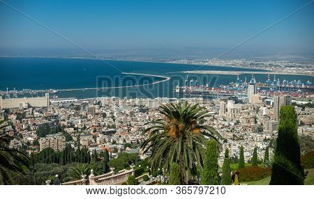 Panoramic View Of The Bahai Gardens And Of Haifa Bay And Port On The Mediterranean Coast. Haifa, Isr