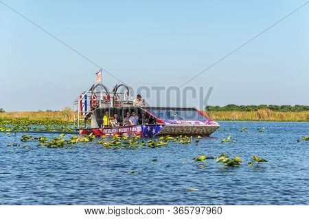 Everglades, United States Of America - April 27, 2019: Airboat Tour At The Everglades National Park.