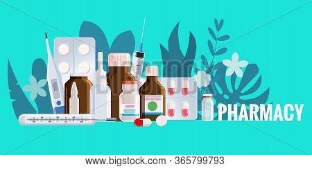 Pharmacy Template Frame With Blister, Spray, Thermometer, Jars, Pills, Drugs, Medical Bottles. Drugs