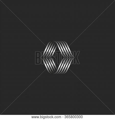 Calligraphic Letter O Logo Monogram Sample, Overlapping Thin Lines Weave Shape, Emblem From Weaving